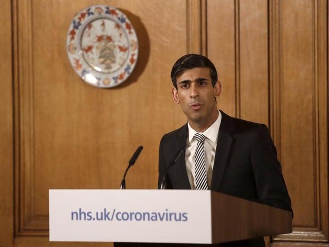 Chancellor Rishi Sunak gives a press conference on coronavirus. Photo: PA