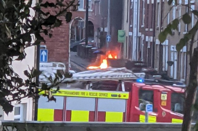 The fire was outside a property on Albert Street. Photo: Andy Cole