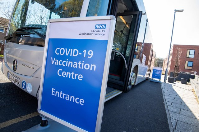 The Covid vaccine bus was targeted by protesters in Bulwell this week. Photo: Tracey Whitefoot