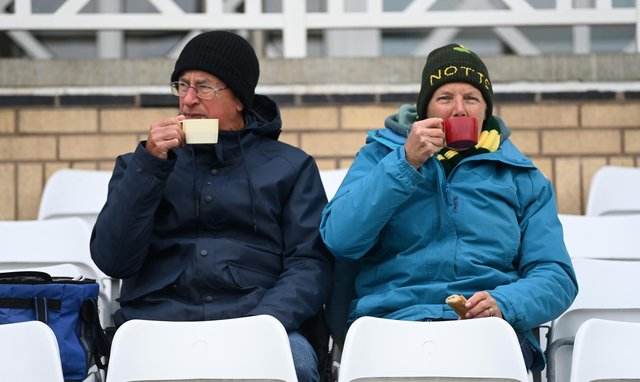 The fans watch the LV= Insurance County Championship match between Nottinghamshire and Worcestershire at Trent Bridge.