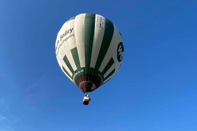 Nottingham & Derby Hot Air Balloon Club's distinctive green and white balloon