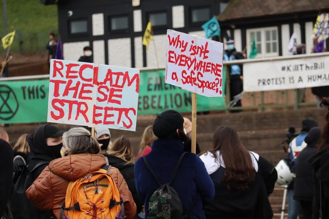 The protest took place at the Forest Recreation Ground and saw numerous groups represented, including Reclaim The Streets and the TUC