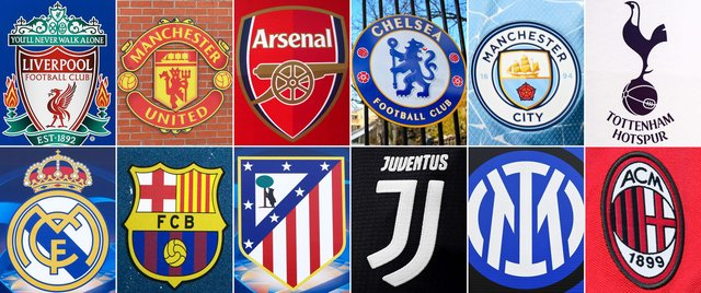 Liverpool; Manchester United; Arsenal; Chelsea; Manchester City; Tottenham Hotspur; Real Madrid; Barcelona; Atletico Madrid; Juventus; Inter Milan and AC Milan will form the new ESL.