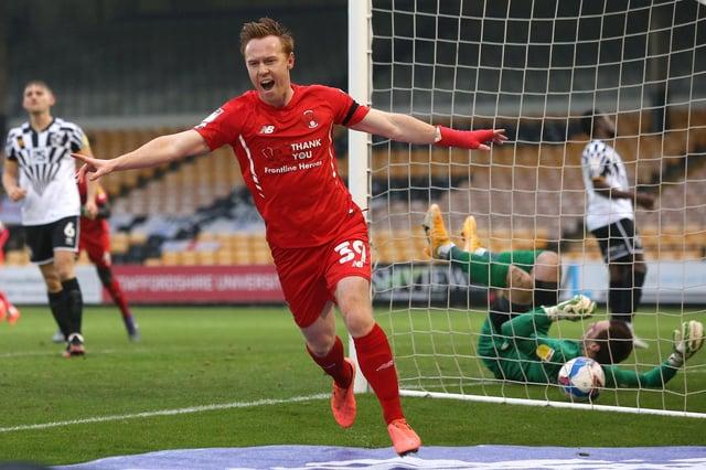 Danny Johnson celebrates a goal for Leyton Orient against Port Vale last season.