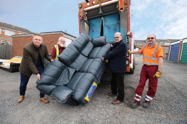Leader, Coun John Clarke and deputy leader, Coun Michael Payne with waste services staff attending a bulky waste collection