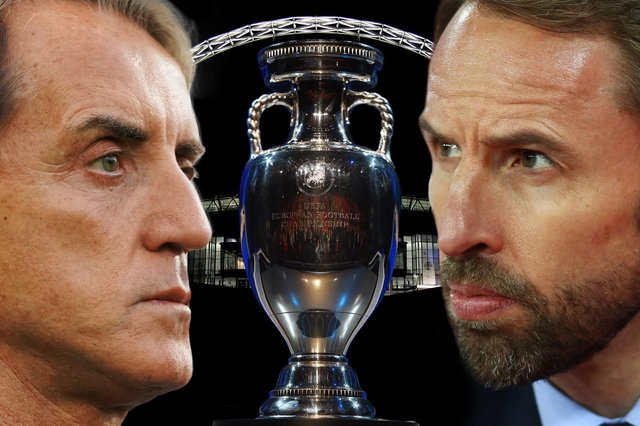A composite photo featuring England manager Gareth Southgate, Italy manager Roberto Mancini, Wembley Stadium and the European Championship trophy (background image by Julian Finney/Getty Images, Mancini photo by Claudio Villa/Getty Images, trophy image by Laurence Griffiths/Getty Images and Southgate photo by Clive Rose/Getty Images)