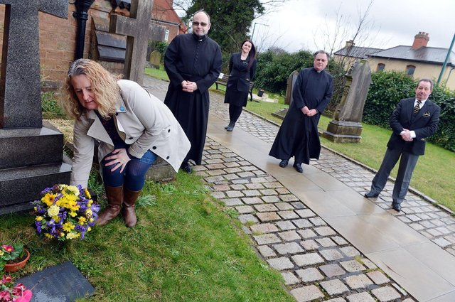 Marking the new Covid memorial stone at St Mary's Church in Bulwell are, from left, Eleanor Lang (church warden), Father Andrew Fisher, Kim Nichols (AW Lymn), Rev Bob Stephens, Tony Knowls (AW Lymn). Photo: Brian Eyre