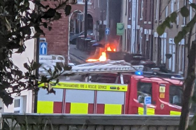The incident saw a Portaloo on fire outside a property on Albert Street. Photo: Andy Cole