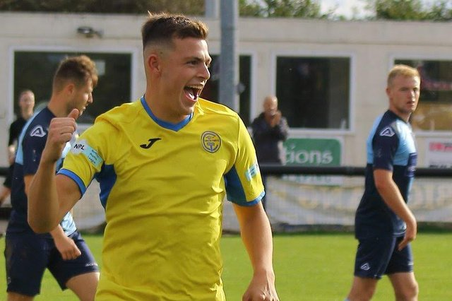 Oliver Clark - celebrating for Carlton Town in 2019 - has yet to feature for Basford United (Pic credit: Twitter/Steve Mack)