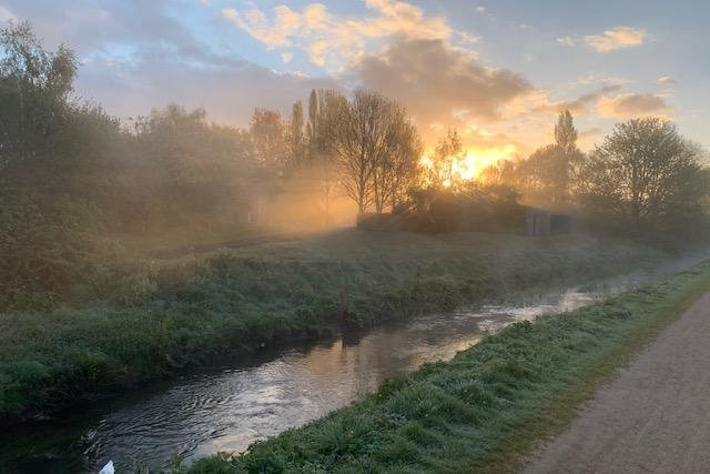 Philip Jackson snapped this stunning shot of the sun rising over a misty River Leen.