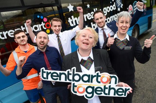 Team members celebrate the return of Trentbarton Together, from left:  Luke Fitzgerald, Matt Newton, Mat Simmons, Angie Cooper, Tom Morgan, Tracey Pemberton