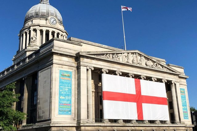 The huge flag will be unfurled on the front of Nottingham Council House
