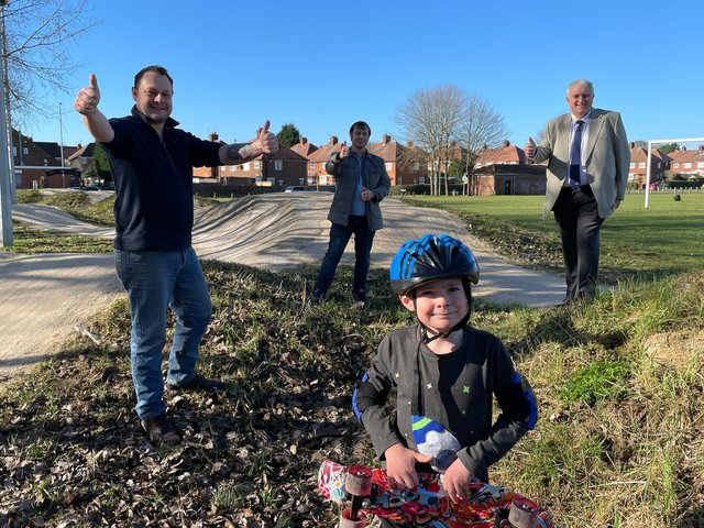 Councillors Jason Zadrozny (left), Lee Waters and David Shaw (right) with Coun Waters' six-year-old son Alexander, at the skate/BMX track on Nabbs Lane Park