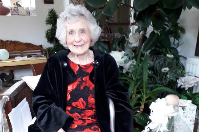 Marjorie Eyre has celebrated her 100th birthday