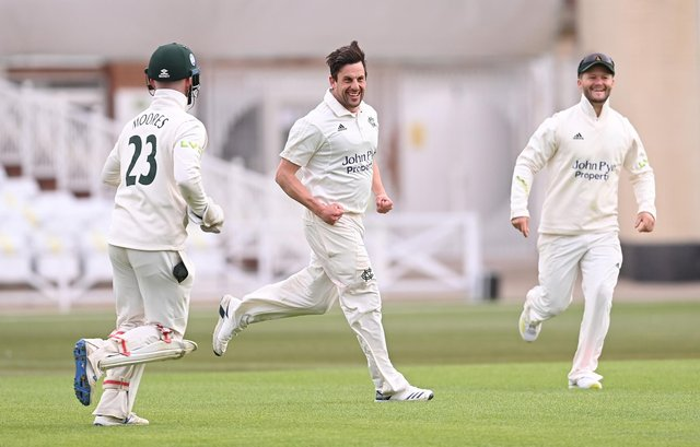 Steven Mullaney of Nottinghamshire celebrates the wicket of Ned Eckersley of Durham with Ben Duckett and Tom Moores during the LV Insurance County Championship match between Nottinghamshire and Durham at Trent Bridge on April 08, 2021 in Nottingham, England.  (Photo by Laurence Griffiths/Getty Images)