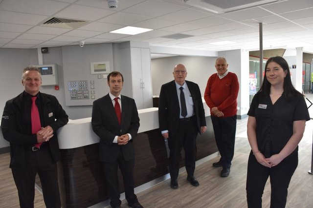 Officially opening the new front of house area at Hucknall Leisure Centre are, from left, Lorenzo Clark, Coun Lee Waters, Coun John Willmott, Coun David Shaw and Deanna Housley