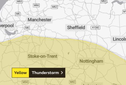 Yellow warning for thunder