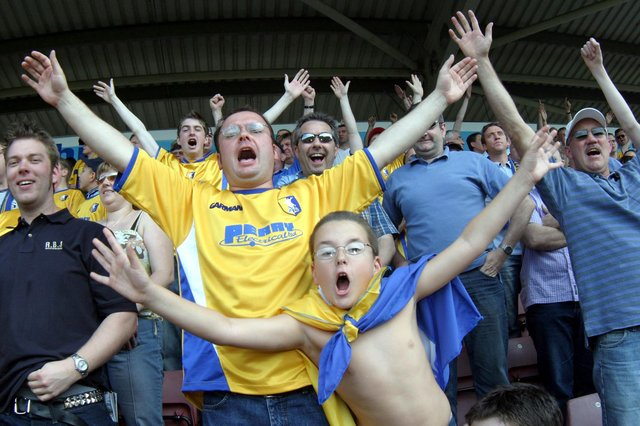 Stags fans enjoying the play-off semi-final against Northampton in 2004.
