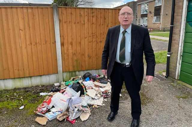 Coun John Willmott with more fly-tipped waste in Hucknall