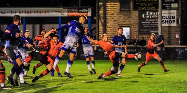 Matt Thornhill - scoring against Matlock Town back in September - was voted Player of the Season by the fans at the end of 2019/20 season (CREDIT: Craig Lamont/Basford United)