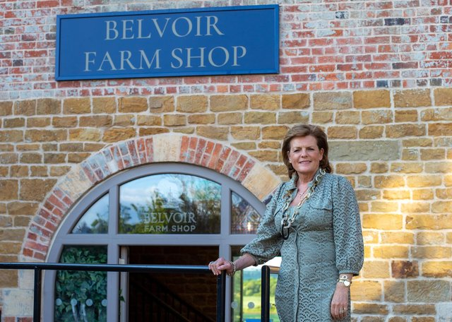 The Duchess of Rutland is pictured outside the new estate farm shop at the Engine Yard.