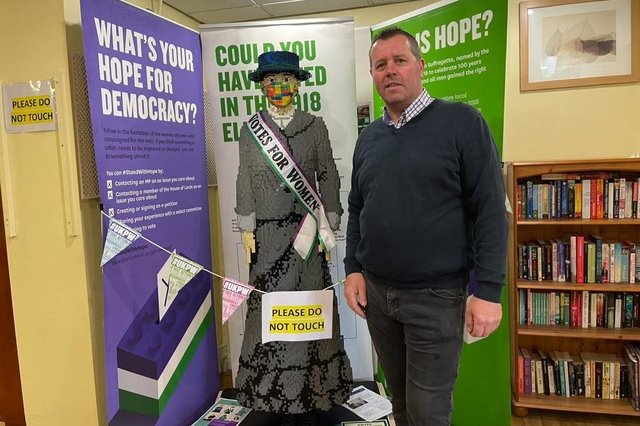 Hucknall MP Mark Spencer with the Lego Hope statue that will be on display in his office