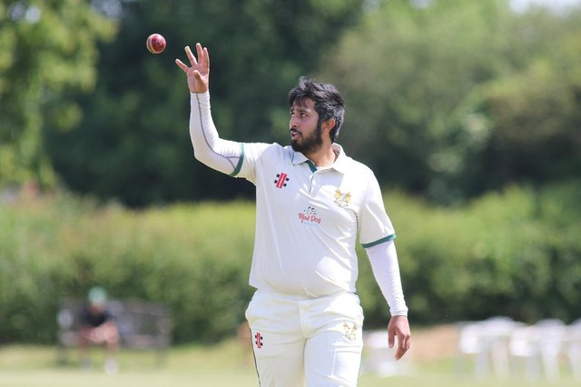 Hucknall's Wazeem Fazal in action with the ball on Saturday ahead of his 89 with the bat.