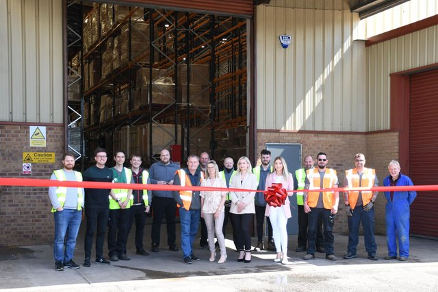 SAC Electronics staff members outside their new home in Hucknall