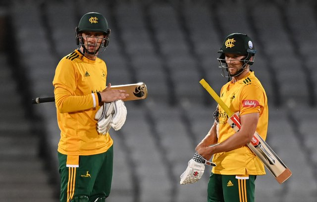 Joe Clarke  hit 136 as Notts Outlaws picked up the win. (Photo by Laurence Griffiths/Getty Images)