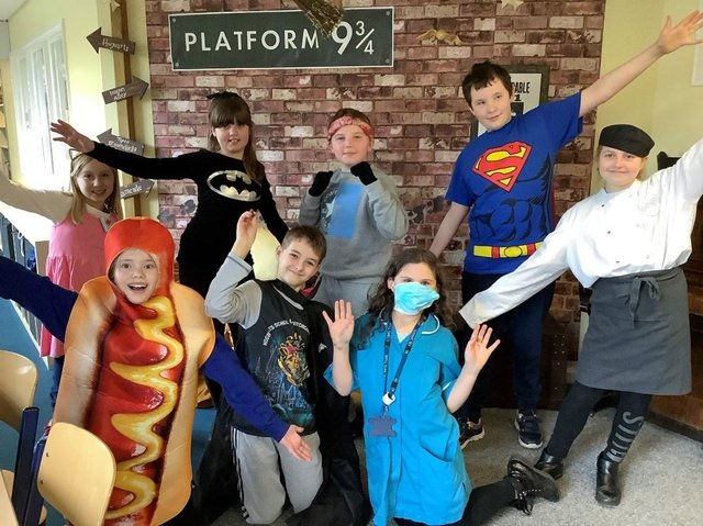 Year Six pupils in their costumes. Photo: Louise Brimble