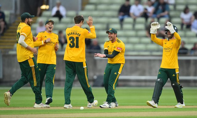 Steven Mullaney celebrates after Calvin Harrison gets Danny Briggs out during the Vitality T20 Blast match between Birmingham Bears and Notts Outlaws. (Photo by Nathan Stirk/Getty Images)