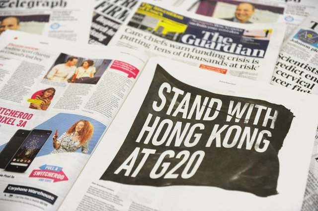 An arrangement of newspapers - which cannot transmit Covid-19, scientists have confirmed. (Photo by DANIEL SORABJI/AFP via Getty Images)