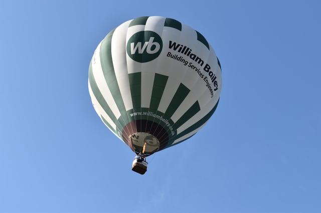 Nottingham & Derby Hot Air Balloon Club's distinctive green and white balloon takes to the sky again. Photos: Robin Macey