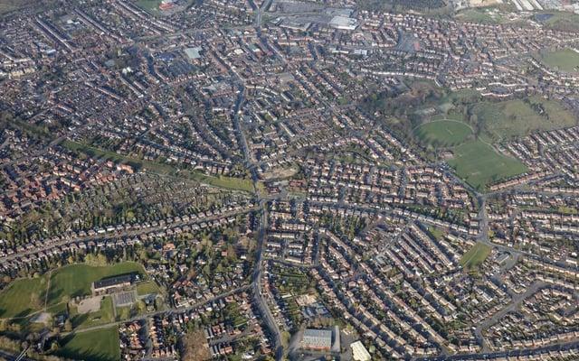 Hucknall from on high from the Nottingham & Derby Hot Air Balloon Club. Photos: Robin Macey