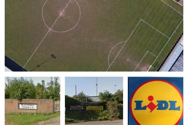 The new store will be built on the site of the old Hucknall Town FC ground. Photos: Google Earth/Pixabay