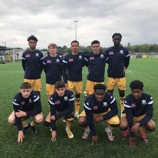 Academy prospects (BACK ROW, L-R): Nathanial Peters, Louis Nicholson, Jacob Taylor, Jordan Haywood, Ferdinand Bartley (FRONT ROW, L-R): Sam Newell, Rory Harrison, Wayde Hines, Kiarn Nyemba all featured in Basford United's friendly defeat against Kimberley Miners Welfare on Saturday.