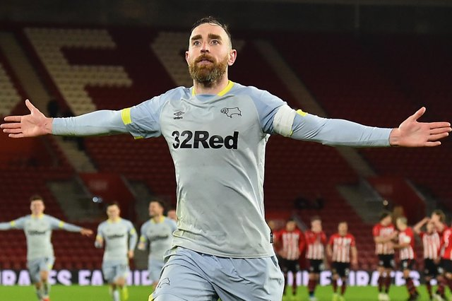Richard Keogh celebrates netting a penlty for Derby County.
