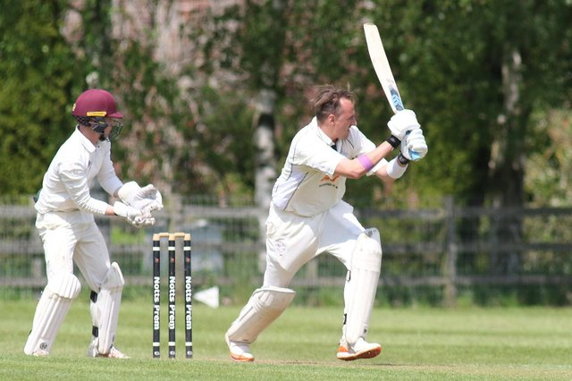 Sam Ogrizovic in his final innings for Papplewick and Linby CC v Mansfield Hosiery.