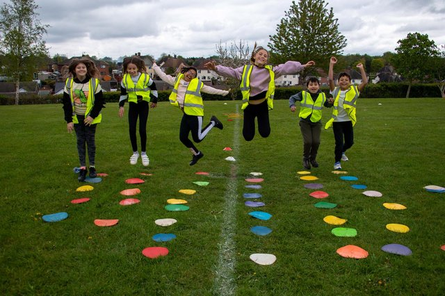 Children organised fun days including obstacles courses for the whole school. Photo: Lou Brimble
