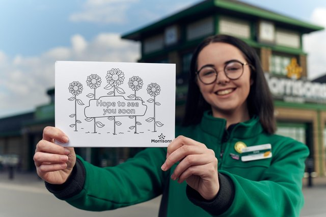 Morrisons will be giving away free postcards for children to spread messages of hope this week. Photo: Mikael Buck