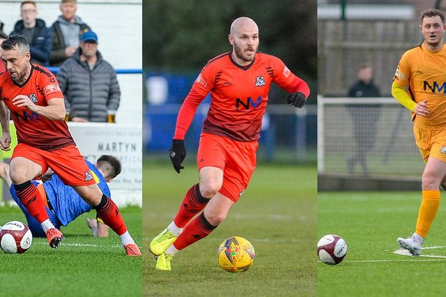 Dom Roma (left), James Clifton and Brad Gascoigne have all signed extended deals with Basford United that will see them remain at the club until the end of next season (Credit: Craig Lamont/Basford United Football Club)