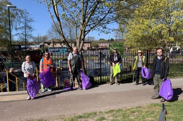 Coun Ethan Radford (right) with litter pickers at Bulwell Bogs