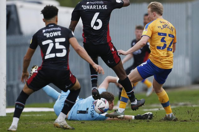 Mansfield Town's George Lapslie puts Stags ahead against Scunthorpe.