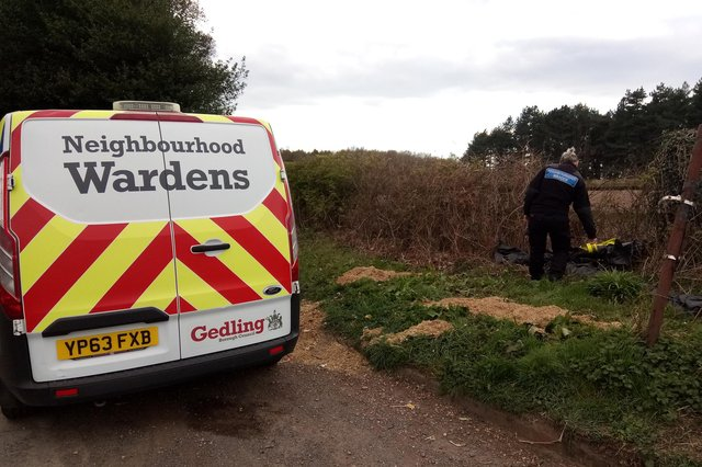 Neighbourhood wardens at the fly tip where the asbestos was discovered. Photo: Gedling Borough Council