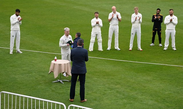 Tom Moores receives his county cap ahead of the LV= Insurance County Championship match between Nottinghamshire and Worcestershire. (Photo by Gareth Copley/Getty Images)