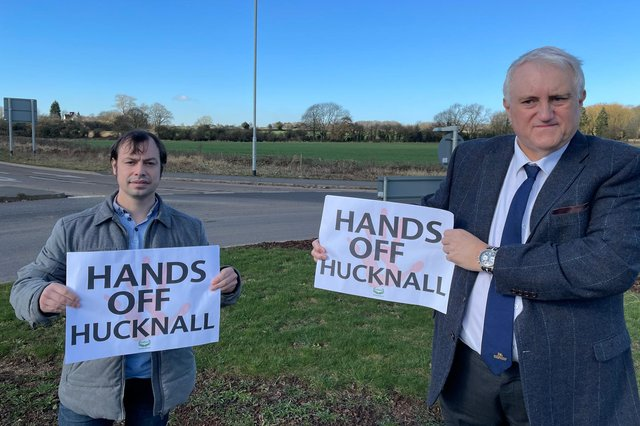 Hucknall councillors Lee Waters (left) and David Shaw show their opposition to the 'super council' plans