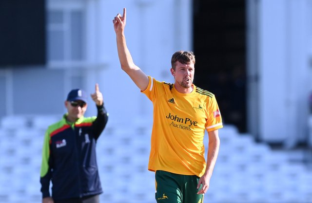 Superb death bowling by Jake Ball helped Notts Outlaws secure a tie at Lancashire. (Photo by Laurence Griffiths/Getty Images)
