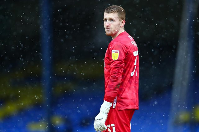 Aidan Stone in action for Stags at Southend United.