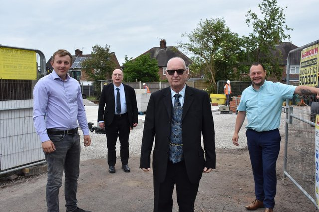Pictured at Hawthorn Avenue in Hucknall are, fromt left, Couns Tom Hollis, John Wilmott, Jim Blagden and Jason Zadrozny