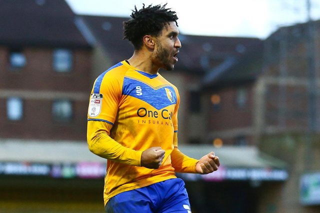 Jamie Reid celebrates his goal for Stags at Southend.